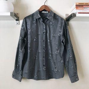 Foxcroft Striped Floral Button Down Shirt
